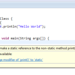 Solve Cannot make a static reference to the non-static method Error