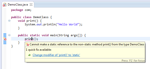 solve error cannot make a static reference to the non-static method or non static method cannot be referenced from a static context
