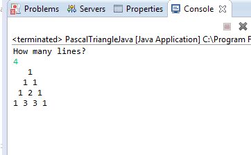 Pascal Triangle in Java